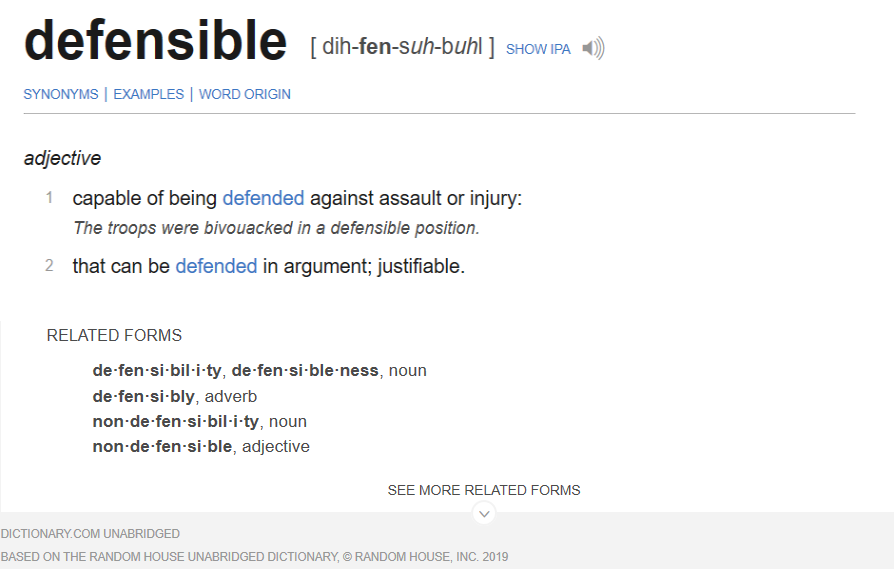 Defensibility definition